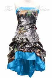 Wholesale Short Strapless Dress Length Tea - Vintage Blue Realtree Camouflage Bridesmaid Dresses High Low Camo Wedding Party Gowns Summer Style Tea Length Bride Maid of Honor Dress