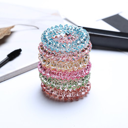 Wholesale girls telephone - hairband hair bands rope elastic telephone wire spring design for Women girl Hair Accessories headwear holder colorful clear