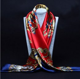 Wholesale Black Cream Scarf - 90cm*90cm 2016 Big Size Silk Square Scarf Women Fashion Brand High Quality Imitated Silk Satin Scarves Polyester Shawl Hijab Brand Design