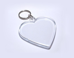 Wholesale Photo Frames Cheap - Blank Acrylic Heart Keychain Cheap plastic key ring Insert Photo or Print logo Promotion Favors FREE SHIPPING