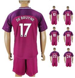 Wholesale R 33 - 17-18 Away Custom De bruyne 17 Soccer Sets With Shorts,Customized Kun Agüero 10 Sterling 7 Sané 19 G.Jesus 33 6 FERNANDO R Soccer Uniforms