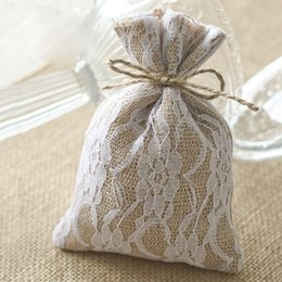"Wholesale Evening Fabrics Wholesale - Lace Hessian Gift Bags 10x15cm(4""x6"") Candy chocolate Fabric Pouches Rustic Wedding Burlap Favor Holders party even supply"
