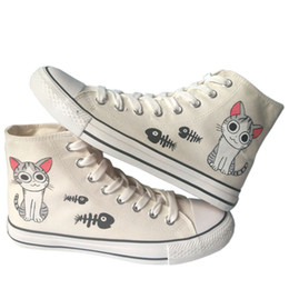 Wholesale Hand Painted Fashion Sneakers - New Cat and Fish Love Cartoon Design Anime Hand Painted Canvas Shoes,Outdoor Leisure Fashion Sneakers,Unisex Casual Shoes Chi's Sweet