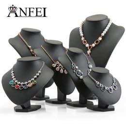 Wholesale mannequins jewelry necklace display stand - ANFEI Black Volor Mannequin Shape PU Leather Jewelry Display Stand For Counter Showcase Necklace Pendant Bust Displays Holder