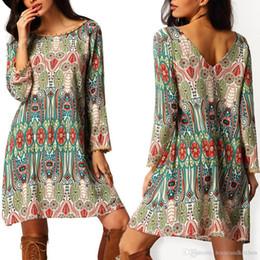 Wholesale Summer Dresses Sundress - 2016 Fashion Summer Vintage Ethnic Dress Sexy Women Boho Floral Printed Casual Beach Dress Loose Sundress