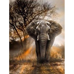 "Wholesale Elephant Canvas Painting - Full round Drill 5D DIY Diamond Painting ""elephant"" handmade 3D Embroidery arts Cross Stitch Mosaic Decor gift r162"