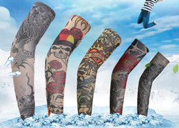 Wholesale Tattoo Sleeve Set - Tattoo sleeves Outdoor cycling arm simulation set Fishing prevented bask in cuff multi patterns 43-45cm free shipping #28