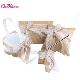Wholesale Lace Ribbon Ring Pillow - Vintage Wedding Ring Pillow and Flower Basket Wedding Guest Book and Pen Set with Burlap Lace Ribbon Bowknot Wedding Supplies <$16 no tracki