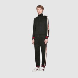 Wholesale Men Autumn Clothing - 2017 luxury designer brand best version Autumn Winter men clothing red green striped Tracksuits letter print zipper suit sweatshirt coat