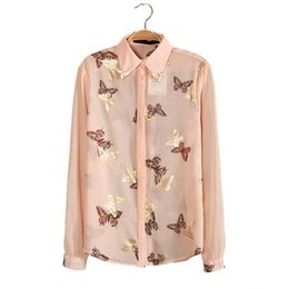 Wholesale Ladies Cheap Blouses Tops - New products women blouses butterfly gold foil print chiffon blouse 2015 summer ladies casual long-sleeved shirts tops cheap clothes china N