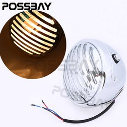 Wholesale Led Grill Lights Amber - POSSBAY Black CNC Motorcycle Finned Grill LED Retro Headlight Lamp W Amber Light For Harley Cafe Racer Bobber XS650 CB750 XL TRI