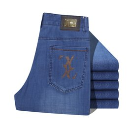 Wholesale Italian Style Lighting - Wholesale-Fashion casual jeans Italian brand men's jeans brand clothing Men's jeans embroidered letters Metal decoration