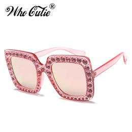 0d753be0b37 2018 Oversized Crystal Embellished Diamond Sunglasses Women Mosaic Vintage  Luxury Square Rhinestone Sun Glasses Rivet Clear Shades 0148