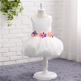 Wholesale Handmade Clothes For Girls - White Puffy Handmade Flowers Girls Clothes Flower Girl Dresses For wedding Short Girls Pageant dresses High Quality