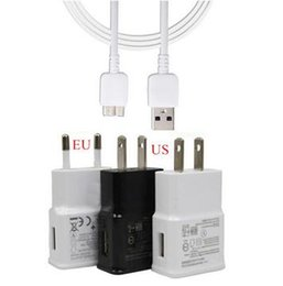 Wholesale Chargeur Usb - Original 5v 2A US EU Plug Wall Charger + 3.0 micro USB Data Cable For Samsung Galaxy S5 Note 3 N9000 I9600 Cargador Chargeur