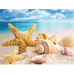 Wholesale Landscape Scenery Paintings - DIY Diamond Painting Cross Stitch sea Shell starfish scenery Home Decor Full Rhinestone Mosaic 5D Diamond Embroidery r059