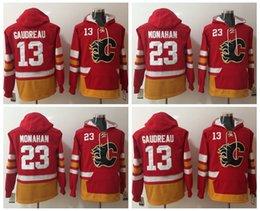 Wholesale Black Jacket Men Flame - 2017 New Calgary Flames Hoodies 23 Sean Monahan 13 Johnny Gaudreau hockey Jersey Pullover Sweatshirts Winter Jacket Stitched