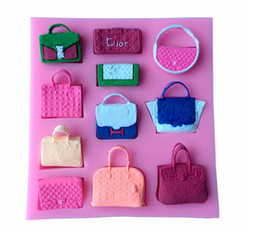 Wholesale Wholesale Baking Supplies Silicone - creative brand bag cake mold handbag wallet pink silcone cupcake fondant mould DIY baking kitchen supply