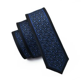 Wholesale skinny tie for men - New Tide Mens Narrow Tie High Quality Fashion Dark Blue Korean Version Floral Thin Tie For Man Cravate Homme E-229