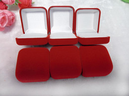 Wholesale Large White Jewelry Box - EMS Free shipping Brand White Inner Velvet Plastic Large Jewelry Box for Wedding Ring Gift Packaging Case 120pcs Lot