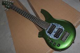 Instrumentos musicais de oem on-line-OEM personalizado de Fábrica frete grátis New Top Quality instrumento musical Esquerdo 6 Cordas Music Man verde Elétrica Bass Guitar pickups ativos