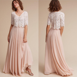 Wholesale Chiffon Long Skirt Yellow - 2017 New Pattern Two Piece Bridesmaid Dresses Ivory Lace Crop with Short Sleeves Blush A Line Chiffon Skirt Two Piece Wedding Dresses