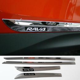 Wholesale Door Side Molding Trims Chrome - 2014 2015 Toyota RAV4 RAV 4 ABS Chrome Side Door Body Molding Streamer Cover Trim Car Door Body Strip Decoration Accessories