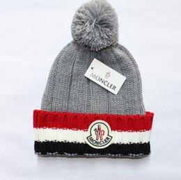 Wholesale Women Crochet Beanie - New Mon Brand Unisex Winter Wool Hats Men and Women Knitting Beanie Warm Caps Couple Touca Gorro Bonnet Skull Caps with Fuzzy Ball 5 colors