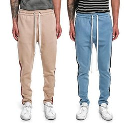 Wholesale Drawstrings Back - 2017 Striped Pants Men with Back Zipper Pockets Elastic Waist Drawstring Terry Track Pants Hip Hop Pants Men Trousers Harem Pant
