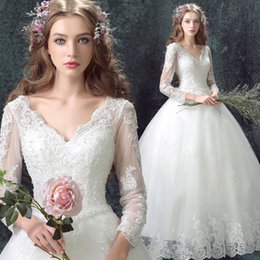 Wholesale Korean Tulle Shirt - 2016 Korean Style Deep V Neck White Sweep Train Wedding Dresses Lace Up Ball Gown Dresses 3 4 Sleeve Lace Dresses