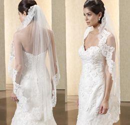 Wholesale Embellished Veil - Hot Sell Bridal Veils 2016 Embellished Lace Applique fingthtip length White   Ivory Color Tulle Wedding Veils