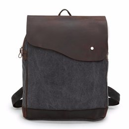 "Wholesale Vintage Hiking Backpacks - Brand New Retro Crazy Horse Genuine leather&Canvas Men Women Hiking Travel Camping Backpack 14"" Laptop Notebook School Bag"
