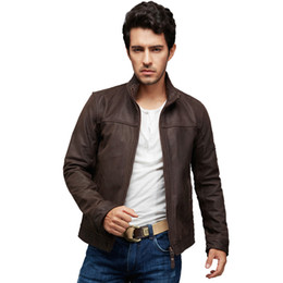Wholesale Men Cow Leather Jacket - Fall-Factory Brown Nubuck Genuine Leather Jackets Men Real Calf Cow Skin Brand Male Bomber Motorcycle Biker Men's Coat Winter jackets