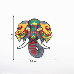 Wholesale Elephant Heads - Elephant Head Patches Sewing Or Iron on Patches Sequins Appliques large Embroidered Patches For Clothing Fashion Decoration