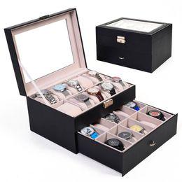 Wholesale Large Jewelry Storage - Large 20 Slot Leather Watch Box Display Case Organizer Glass Top Jewelry Storage