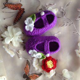 Wholesale Summer Slippers Sale - Hot Sale 2016 Newborn Handmade Knit Crochet Baby Shoes Baby Slippers T-Strap Baby Girls Crochet Handmade Knit Shoes 0-12M custom