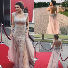 Wholesale Pageant Dresses For Women Short - Sexy Blush Crystals Women Evening Dresses Backless Tulle with Cap Sleeves See Through Feather 2017 Cheap Prom Dress Gowns for Party Pageant