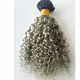 Extensiones de cabello gris mezclado online-ombre extensiones de cabello 8a dos tonos 1b gris oscuro raíz ombre brasileño profundo rizado cabello humano teje 3 paquetes mucho mezclado longitud