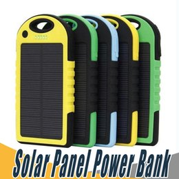 Wholesale Solar Panel Battery Mah - 5000mAh Solar Panel Power Bank with Flashlight Dual USB Port Waterproof Shockproof 5000 mAh Portable Solar powerbank Battery Pack Charger