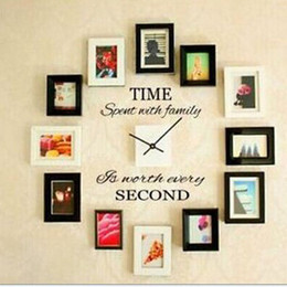 Wholesale Self Adhesive Wall Time - Time Spent with Family is Worth Every Second Wall Stickers Quotes Wall Decals Art for Home Room Decor WS436