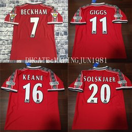 Wholesale Champions Football - Velvet Name Number 98 99 Beckham Keane Solskjaer Giggs 3 Champions Man UTD Retro Soccer jersey 1999 Man U Throwback Classic Football Shirt