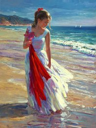 Wholesale Beach Portrait - nice young girl playing by beach & ocean waves Coastal Breeze,Pure Hand-painted Figure Portrait Art Oil painting On canvas,Multi Sizes
