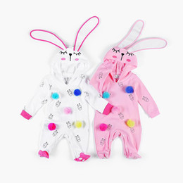 Wholesale Rabbit Onesie - Cute Baby Rompers Infant Girls One-piece Cartoon Rabbit Big Ears Toddler Climb Clothing Rompers Jumpsuits Onesie Pink White