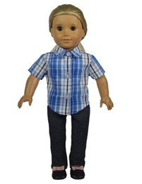 Wholesale Rubber Shirts - New 18 inch American Girl Doll Clothes of Leisure Blue Plaid Shirt and Blue Jeans Trousers for American Girl Dolls