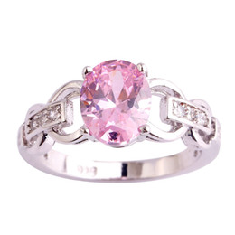 Wholesale Ring Pink Topaz - AAA CZ Lab Wholesale Pink Topaz 18K White Gold Plated Silver Ring Size 6 7 8 9 10 11 Women Gems Rings Jewelry Free Shipping