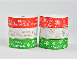 Wholesale Wholesale Holiday Printed Ribbon - 25mm width Christmas rib knitting belt Merry Christmas snowflake printed grosgrain tape Holiday gifts ribbons decoration