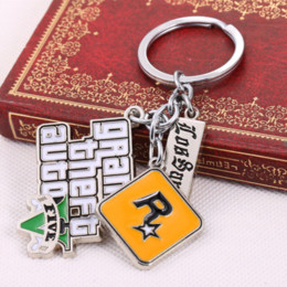 Wholesale Grand Games - GTA5 Game Grand Theft Auto V Keychain can Drop-shipping Metal Key Rings For Gift Chaveiro Key chain Jewelry for cars YS10856