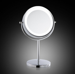 Wholesale Chrome Stands - 7 Inch LED Table Mirror Lovely Makeup Mirror 1 3 Magnification Iron Chrome Finished Mirror Gift for Girlfriend Table Stand Cosmetic Mirror