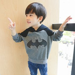 Wholesale Cotton Batting Wholesale - New Fashion Bat Sweatshirts Boys Clothing Jacket Kids Hoodies Girls Trolls Pullover Children Cartoon Autumn Clothing Outwear Grey A7406