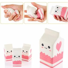 Wholesale Fun Retail - New Cute Jumbo Squishy Milk Box Cartoon Slow Rising Toys Phone Straps Pendant Sweet Cream Scented Bread Kids Fun Toy Gift CCA7654 30pcs